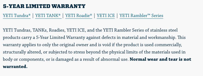 yeti warranty policy