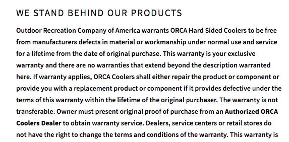 orca warranty