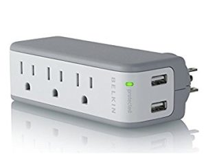 Belkin BZ103050-TVL 3-Outlet Mini Travel Swivel Charger Surge Protector with Dual USB Ports, 1-Amp/5-watt